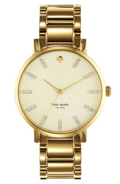 kate spade new york 'gramercy' round bracelet watch