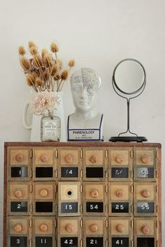 Post Office Boxes // My parents have at least a dozen of these in storage. May need to steal one. Old Mailbox, Vintage Mailbox, Furniture Inspiration, Home Decor Inspiration, Furniture Ideas, Phrenology Head, Old Post Office, Floral Event Design, Piece A Vivre