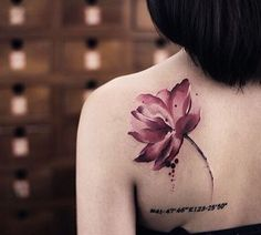 The lotus tattoo represents purification and faithfulness. In Buddhism, lotus flower is one of Buddhist relics often appears with Buddha statues. Lotus Tattoo Design, Pink Lotus Tattoo, Watercolor Lotus Tattoo, Tattoo Designs, Watercolor Tattoo Shoulder, Kunst Tattoos, Neue Tattoos, Body Art Tattoos, Sleeve Tattoos