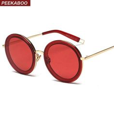 SUNGLASSES  NEW Peekaboo clear frame sunglasses with red lenses female  male round oversized sunglasses 7f48df2391