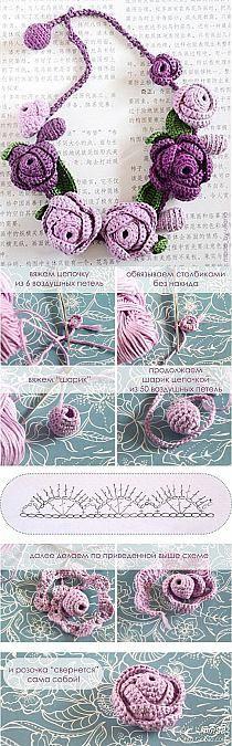 biżuteria pasmanteryjna / szydełko / korale / kwiat