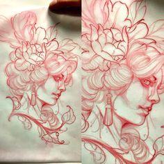 Cute Tattoo Ideas For Women – Be Creative When Deciding On Cute Tattoo Designs Sketch Tattoo Design, Tattoo Sketches, Tattoo Designs, Flower Tattoo Drawings, Flower Tattoos, Concept Art Tutorial, Back Tattoo Women, Tattoo Illustration, Tattoo Stencils