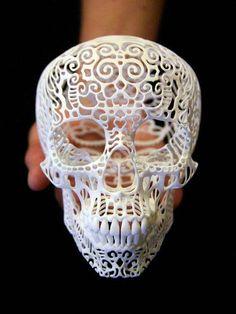 White filigree skull.