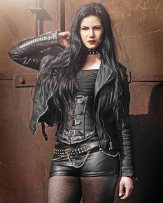 Leather Skirt, Leather Jacket, Dark Beauty, Goth Girls, Gothic Fashion, Leather Fashion, Short Skirts, White Leather, Beautiful Women