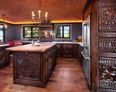 Mediterranean Kitchen Design, page 2 ~ by Carved Custom Cabinets, Santa Fe NM