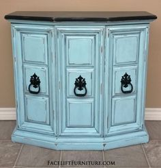 Wall Console in distressed Robin's Egg Blue with Black Glaze. Top and original pulls painted black. From Facelift Furniture's Robin's Egg Blue Furniture collection. Painting Furniture Diy, Blue Furniture, Cheap Furniture, Refinishing Furniture, Furniture, White Furniture, Gothic Furniture, Robins Egg Blue Paint, Rental Furniture