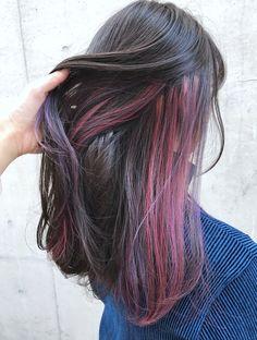 Unique best dark hairstyles color ideas – Page 30 Two Color Hair, Hidden Hair Color, Hair Color Streaks, Ombre Hair Color, Cool Hair Color, Hair Highlights, Peekaboo Hair, Grunge Hair, Aesthetic Hair