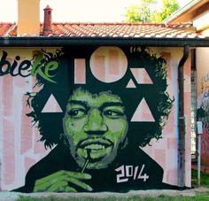 portrait of Jimi Hendrix by Fabieke in Castel Maggiore, Italy - 2014 (LP)