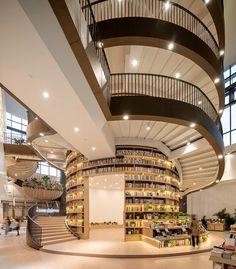 HMA forms M. bookstore around a massive circular bookcase in china China Architecture, Library Architecture, Architecture Building Design, Public Library Design, Bookstore Design, Harbin, Home Libraries, Cafe Interior, Interior Design