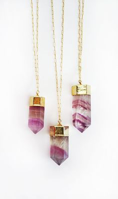 FLOURITE crystal point necklace  LIMITED EDITION by shopkei, $80.00