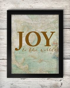 Joy to the World Christmas Vintage Map / downloadable printable on Etsy by PrairiePix