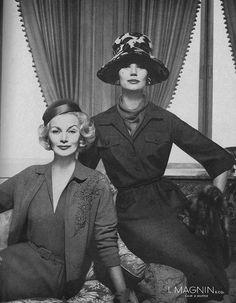 September Vogue 1959    Sunny Harnett (L) and Simone D'Aillencourt.
