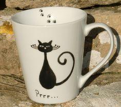 Black Cat Mug. £12.00, via Etsy.