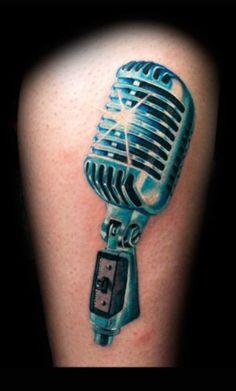 Stunning Blue Microphone Tattoo