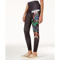 Freeze 24-7 Juniors' Marvel The Avengers Graphic Leggings ($13) ❤ liked on Polyvore featuring pants, leggings and white