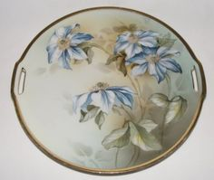 "Antique Victorian Porcelain 11"" Cake Dessert Serving Plate Charger RS Prussia 