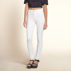 Girls Hollister High Rise Super Skinny Jeans | White wash denim with faux front pockets and iconic back pocket stitching | HollisterCo.com