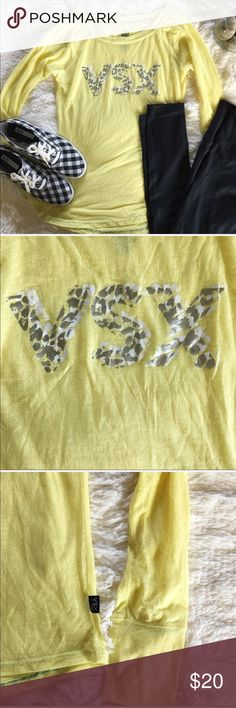 nwot // victoria's secret sport • logo yellow tee This top is in excellent condition with no flaws and has never been worn. The letters on the top are in cheetah print. The top is slightly sheer as seen in the photos. Let me know if you have any questions!🙂🌾 Victoria's Secret Tops Tees - Long Sleeve