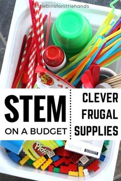 Inexpensive STEM Ideas for Kids STEM Activities STEM on a budget with frugal engineering supplies and clever materials for all your STEM challenges. Great for preschool and kindergarten STEM activities. Stem Science, Preschool Science, Science Experiments, Science Activities, Summer Activities, Physical Science, Science Classroom, Science Education, Forensic Science