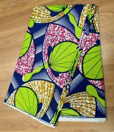 Gorgeous Ankara African Print Fabric- Blue, Green, Pink (5 Yards)
