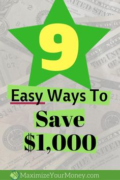 Money Saving Tips: Here are 9 easy ways to save a $1000. Money saving tips, money saving chart, saving money & paying off debt.