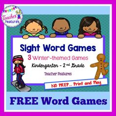 **FREE** Sight Word Games: 3 Winter-themed Games (Kdgn – 2nd Grade)