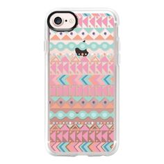 Blush pink teal aztec triangles zigzag geometrical - iPhone 7 Case And... ($40) ❤ liked on Polyvore featuring accessories, tech accessories and iphone case