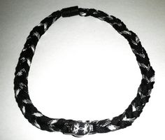 Under Armour Black / White Camo Paracord Braid Survival Charm Neckace | gingasgalleria - Jewelry on ArtFire