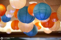 cobalt and coral wedding | Paper lanterns make great wedding decorations
