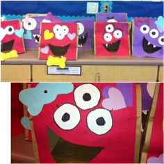 Love Monster (by Rachel Bright) inspired Valentine's day Mailboxes.  The mouth is where you put the valentines :)