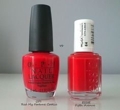 OPI, RED MY FORTUNE COOKIE VS ESSIE, FIFTH AVENUE