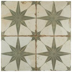 Imported from Spain, Old-world European elegance radiates from the Merola Tile Kings Star Sage Encaustic in. Ceramic Floor and Wall Tile. Style Rustique, Ceramic Wall Tiles, Ceramic Flooring, Before Midnight, Distressed Painting, Wall And Floor Tiles, Shower Floor, Black Walls, Wall Patterns