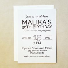simple and modern 30th birthday dinner cocktail party invitation 30th 40th 50th 60th cheap birthday black