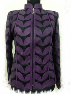 Buy Online Handmade Very Soft Genuine Lambskin Purple Leather Leaf Jacket for Women. All Regular and Plus Sizes Available. Free Shipping , Returnable. [ BUY 2 SAVE $20 ] ...