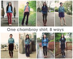 Putting Me Together: 8 Ways to Wear a Chambray Shirt (by Kimmie from Blue Paper Lanterns)