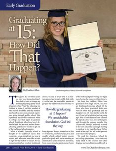 Graduating at 15: How Did That Happen? – By Heather Allen  The Old Schoolhouse Magazine - 2014 Annual Print Book - Page 208-209