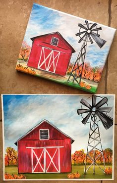 How To Paint A Fall Barn - Step By Step Painting. Canvas Painting Tutorials, Easy Canvas Painting, Autumn Painting, Painting Lessons, Diy Painting, Painting & Drawing, Canvas Art, Barn Drawing, Fall Canvas