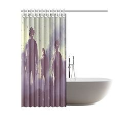 Bloody Shower Curtain Halloween Zombie Crime Print for Bathroom