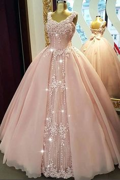 Fabulous Tulle & Organza V-neck Neckline Floor-length Ball Gown Quinceanera Dresses With Beaded Lace,prom dress Xv Dresses, Quince Dresses, Fashion Dresses, Pretty Dresses, Beautiful Dresses, Pink Dress, Lace Dress, Pink Princess Dress, Homecoming Dresses