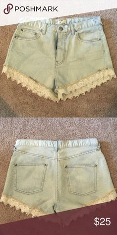 Free people denim shorts w/ lace trim - Size 28 Worn these adorable FP shorts on twice, basically new. Free People Shorts Jean Shorts