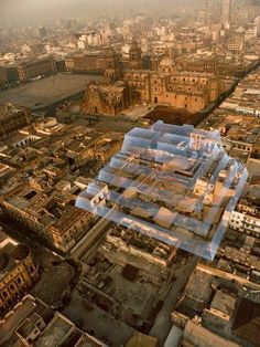 The Zócolo, central plaza of Mexico City, the modern name for ancient Tenochtitlan, capital of the Mexica (Aztec) empire.