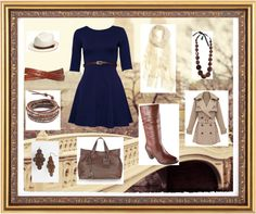 """""""Navy and brown"""" by nstansif on Polyvore"""