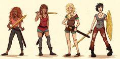 Hazel, Piper, Annabeth and Thalia from PJ
