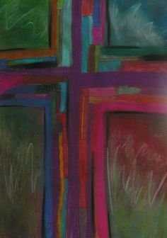 This was painted during an all night worship service at Grace Vineyard Church in Grand Prairie.  The members of the church worked on this painting, each bringing a piece, a color a smudge.  When they finished I pulled it all together with a little more paint and color.  It was a gift to that precious body and they have it framed on the back wall.  It is beautiful to see what can be accomplished when the Body steps outside the box and works together.      The unity crosses represent different…