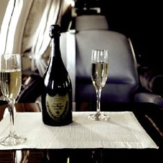 Champagne aboard your own private jet - well, I can dream!