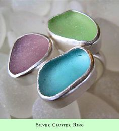 Cluster sea glass ring