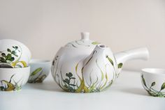 ready to ship - Hand Painted Ceramic Tea Set -  Grass Fields Collection. $250.00, via Etsy.