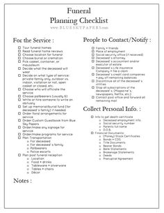 How To Plan A Funeral Free Planning Checklist Download BlueSkyPapersCom