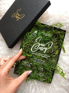 Acrylic monstera leaf wedding invitation on real moss! Enchanted Oasis theme.