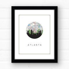 Atlanta skyline print | Atlanta art print | Atlanta map print | Atlanta, Georgia wall art | Atlanta Georgia, southern decor | Georgia print